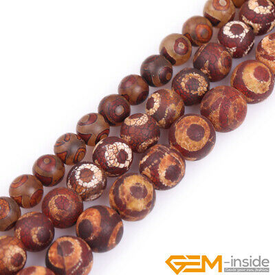 Natural Vintage Banded Eye Wooden Agate Gemstone Frost Round Beads Strand 15""