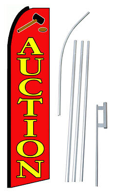 Complete 15' Auction Red Kit Swooper Feather Flutter Banner Sign Flag