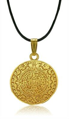 "ACROSS THE PUDDLE Pre-Columbian 24k GP Aztec Solar Calendar 1.1"" Pendant"