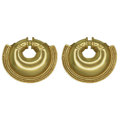 ACROSS THE PUDDLE 24k GP Pre-Columbian Quimbaya Convex Nose Ring Drop Earrings