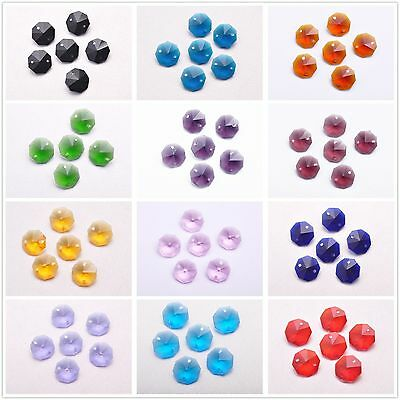 50pcs 14mm Faceted Charms Octagon Crystal Glass Findings Spacer Loose Beads