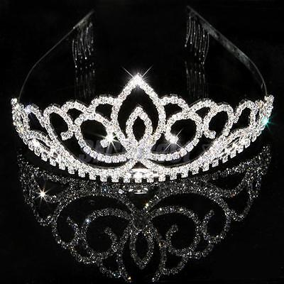 Wedding Bridal Tiara Rhinestone Crystal Crown Veil Headband Tiara Pageant Prom