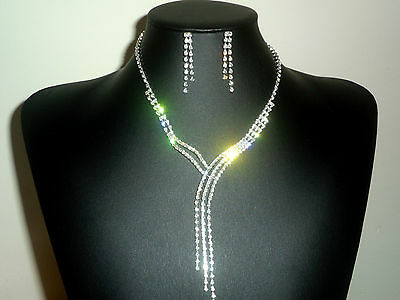 Stunning Sparkling Diamante Necklace & Earrings Boxed Set, Wedding, Prom, Cruise