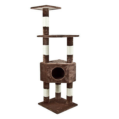 New Pet Condo Furniture Cat Tree House Scratcher Bed With Rope Hole Brown