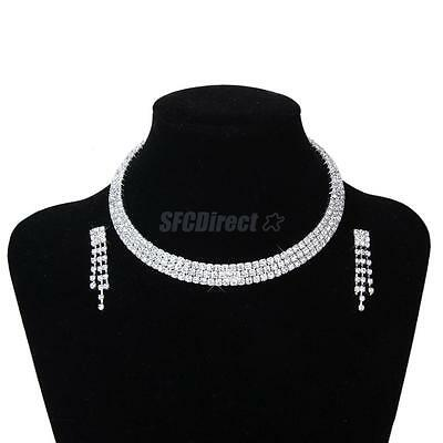 Wedding Bridal Party Crystal Diamante 3-Row Choker Necklace Earrings Jewelry Set