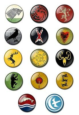 GAME OF THRONES 25mm button pin badge Stark, Targaryen, Lannister, Baratheon