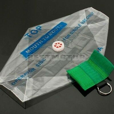 CPR Resuscitator Mask Keychain Key Chain Ring Face Shield First Aid   Green