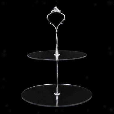2Tier Clear Acrylic Round Cupcake Stand Birthday Wedding Party Cake Food Display