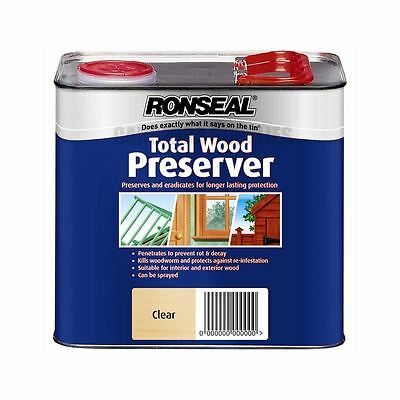 Ronseal Total Wood Preserver - Kills Woodworm Prevents Rot - Clear 2.5L