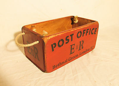 Vintage antiqued wooden box, crate, trug, Post Office Box, Bethnal Green