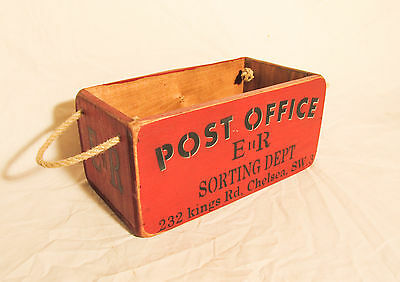 Vintage antiqued wooden box, crate, trug, Post Office Box, Chelsea