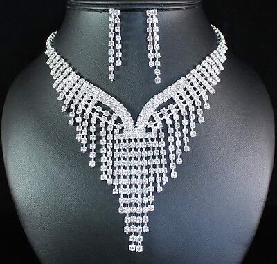 Bright Clear Austrian Rhinestone Bib Necklace Earrings Set Bridal Wedding N1685