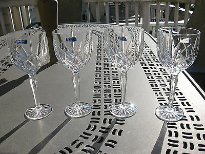 "SET of 4  8.5"" Marquis By Waterford CUT CRYSTAL BROOKSIDE Vine  Glasses"
