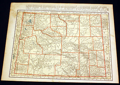 Antique Map Wyoming or Colorado 1922