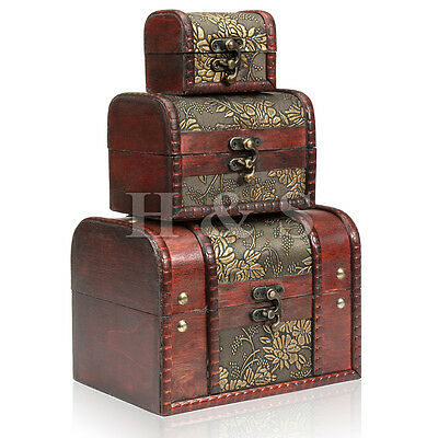 3 x Wooden Vintage Treasure Chest Wood Jewellery Storage Box Case Organiser Ring