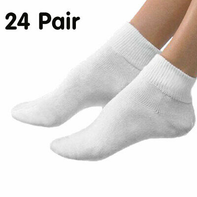 Bulk 24 Pairs Plain White Ankle Cotton Blend Sports Socks (6-10)
