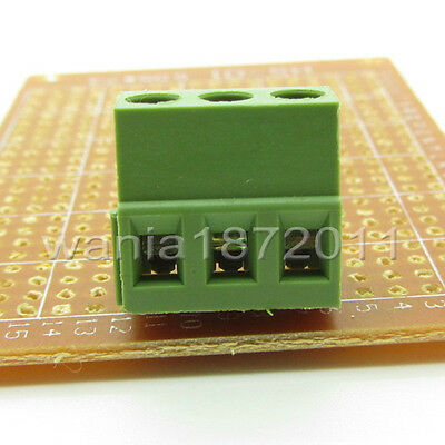 "10 × PCB Screw Terminal Block 3 Pole 0.2"" 5mm Pin Pitch for 24-12AWG 3 Way 10A"