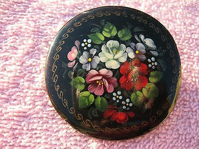 Vintage Hand Painted Russian Floral BROOCH Pin