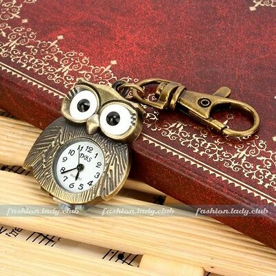 Vintage Bronze Tone Owl Men's Women Pocket Key Ring Quartz Kids Pendant Watch