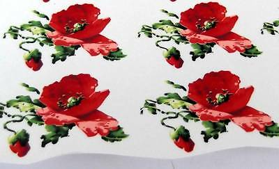 #A42 Ceramic Waterslide Decals 16 RED POPPIES 2 1/2""