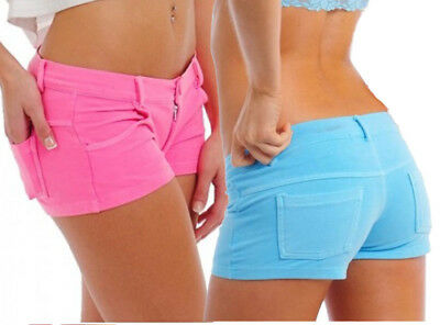 Faux Jean Hot Shorts Juniors Booty Short Stretch Low Rise Pink Blue Yellow +PHS