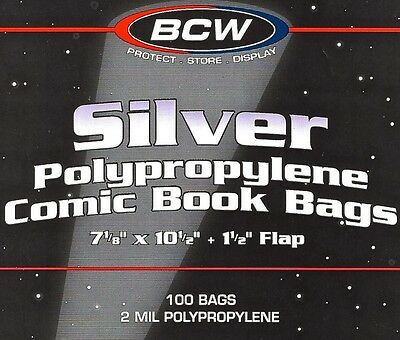 200 BCW Silver Comic Bags / Protective Sleeves - NEW - Poly Bags for Silver Age