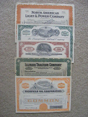 Lot of 5 different Stock Certificates