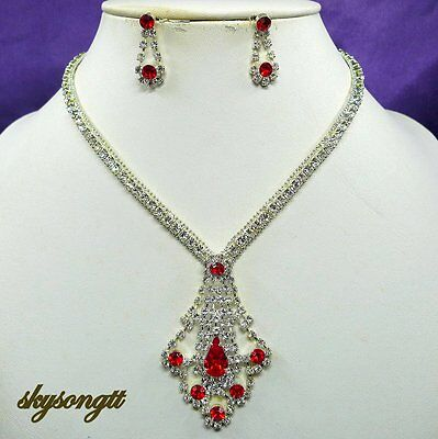 Austrian Ruby Red Rhinestone Crystal Bridal Party Necklace Earrings Set S1584R