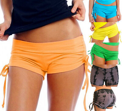 Adjustable Side Tie Booty Hot Shorts Yoga Dance Pole Fitness Solid n Tie Dye AHS