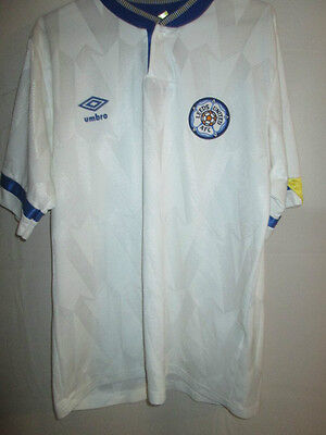 Leeds United 1990-1991 Home Football Shirt Size Large Adult / 9535
