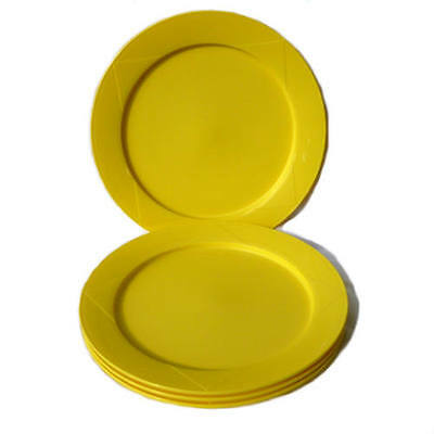 Tupperware Picnic Breeze Plates Open House x 4 Round Lime Yellow NEW Dinner size