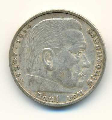 Germany Third Reich Hindenburg Silver Coin 5 Reichsmark 1936 E VF/XF