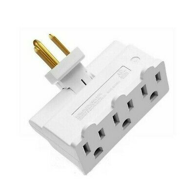 3 outlet 3 prong swivel grounded electric plug wall tap space saver - UL