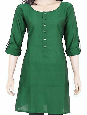 Ethnic Indian Green Cotton Short Kurta Kurti Top Tunic Full Sleeve 903177