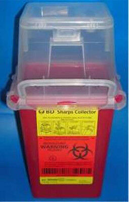 BD Phlebotomy Sharps Container 1.5Qt Nestable Red Waste Collector 305487 New
