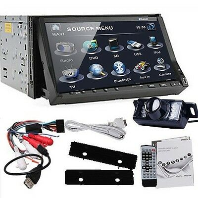 """Camera+ Double 2 Din 7"""" In-Dash Touch Car Stereo DVD Player Radio BT Ipod TV RDS"""