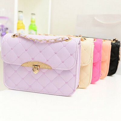 Hot Sell Evening Peach Heart Womens Leather like Chain Quilted Shoulder Handbags