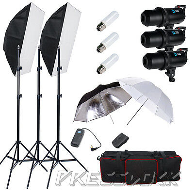 Pro 900W Photo Studio Flash Light Stand Kit Soft Box Set Strobe (LED Display) AU