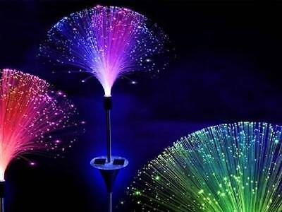 3x Colour Changing Solar Fibre Optic Light Lamp Led Garden Path Patio Decoration