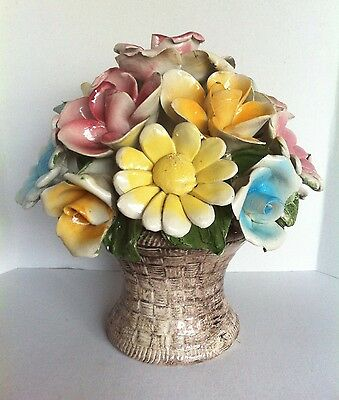 Large Capodimonte Flower Basket Made In Italy