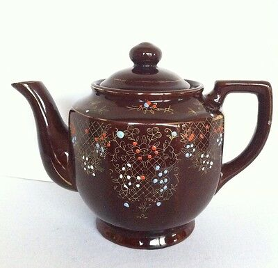 Vintage Japan Brown Glazed Red Clay Hand Painted Teapot
