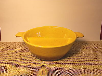 Vintage Hull Pottery Yellow & Bown Round Divided Vegetable Bowl