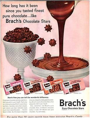 1960 Brach's PRINT AD Candy Bridge Peanut Cluster Chocolate Stars  Peanuts Decor