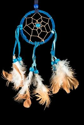 NEW SMALL HANDMADE NATIVE DREAMCATCHER IN BLUE SUEDE HELP BAD DREAMS / dcle06blu