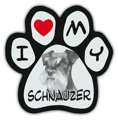 Picture Paws | Dog Paw Shaped Magnets: I LOVE MY SCHNAUZER | Car Magnet