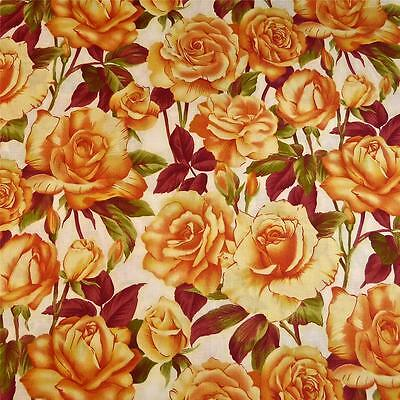 Gorgeous Large Gold Roses on Cream, by Benartex, Cotton Fabric Per 1/2 Yard