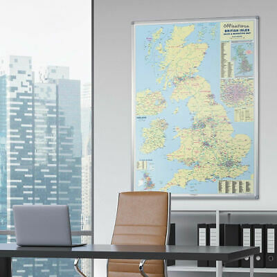 WALL MAP OF UK FRAMED & LAMINATED showing ROADS-MOTORWAYS-TOWN-COUNTY 120x83cm