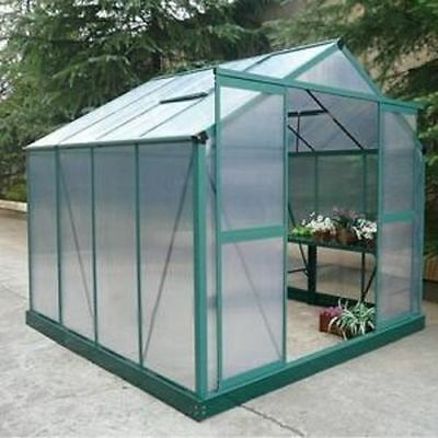 Polycarbonate Aluminium Greenhouse 8ft x 12ft Metal, with Steel Base Unit