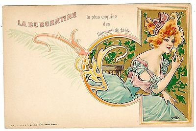 Postcard French La Burgeatine Liqueur Art Nouveau Woman Sipping From Glass