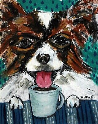 Papillon dog coffee art signed PRINT 8x10 impressionism reproduction of painting